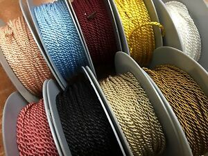"""Twisted Cording Rayon Cord 1/8"""" 3yds Made in France 2-3mm"""