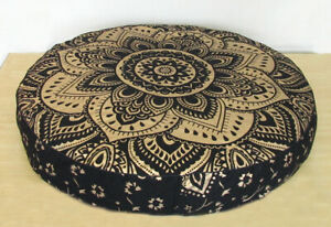 """New Black Gold 35"""" Round Floor Cushion Mandala Cotton Pouf Seating Cover Pet Bed"""
