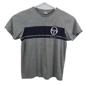 Sergio Tacchini Mens T-Shirt Size M Grey Short Sleeve Crew Neck Big Logo Italy