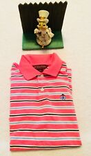 BROOKS BROTHERS Polo Rugby Shirt Size M Womens Blue Pink White Striped NICE
