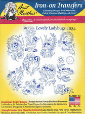 Lovely Ladybugs Aunt Martha's Hot Iron Embroidery Transfer #4034