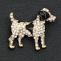 Betsey Johnson Black Enamel Crystal Cute Dog Charm Women's Animal Brooch Pin