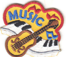 """MUSIC"" PATCH w/GUITAR & MUSIC NOTES-Iron On Applique Patch/Rock N'Roll,Jazz"
