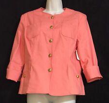 NWT Juliana Collezione Coral Colored Denim Jacket Blouse Sz 8 Retail Value $350