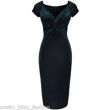 PRETTY KITTY Green Velour Party Hollywood Wiggle Bodycon Pencil Cocktail Dress