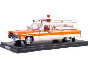 Scale model car 1:43, CADILLAC S&S High TopAmbulance 1966 White/Orange
