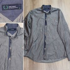 FRED PERRY LONG SLEEVE MENS BUTTON DOWN GRAY DIAMOND DOTTED SHIRT Size M