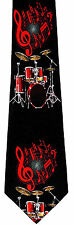 Drum Beat Mens Neck Tie Music Black Necktie Musical Instrument Drummer Gift New