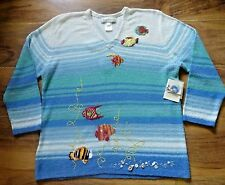 SUSAN BRISTOL Cardigan Sweater Embroidered Fish Shells Size Large $130 Tag