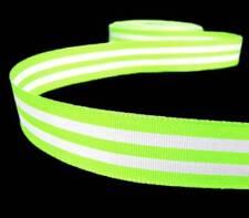 """5 Yds Lime Green White Striped Grosgrain Ribbon 7/8""""W"""