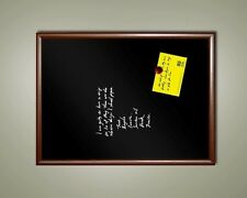 "XL Handsome 48"" x 36"" Framed Magnetic Black Chalk Board, Dark Frame Blackboard"