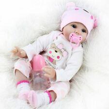 Reborn Baby Puppe 55cm Lebensecht Handgefertigt Weich Silikon-Vinyl Mädchen DHL