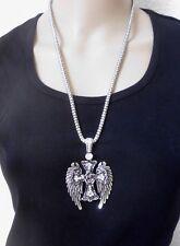 Halsschmuck Kette Halskette Metallkette silberfarben Kreuz Flügel Strass lang