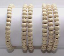 Ladies X1 / X2 / X3 Wooden Bead Tribal / Surfer Elastic Bracelet - White - NEW