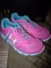 Brand  New Girls Pink & Blue Under Armour GGS Assert V Tennis Shoes, Size 5.5