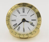 Tiffany & Co Portfolio Gold Travel Decor Desk Table Alarm Clock Quartz Movement