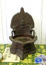 Antique Indian bronze oil lamp, 19th C Hindu temple pooja lamp, Kamakshi vilakku