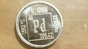 1/10 Ounce Palladium Coin .999 Fine Metallium the Elements UNC bar round .1 Oz