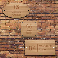 Personalised House Sign, Laser Engraved Custom Front Door Wood Number Plaque