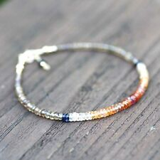 Natural Champagne and Ombre Orange Sapphire Bracelet Solid 14k Gold