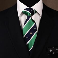 Green Woven Tie Diagonal Striped Luxury Majestic Crown and Stylish Shield Seal