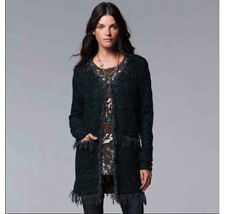 NWT SIMPLY VERA Wang Dark Green Duster Cardigan Sweater Jacket Fringed S M $98