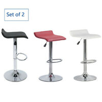 Set of 2 Bar Stools Adjustable Leather Counter Swivel Bistro Pub Dining Chair