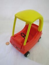 """LITTLE TIKES Dollhouse-Sized COZY COUPE CAR Red Yellow for 6"""" Tall Doll #1 Rare"""