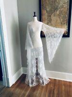 VTG Sheer Lace Art Deco Victorian Wedding Dress w Fringe BoHo Bell Sleeve Maxi