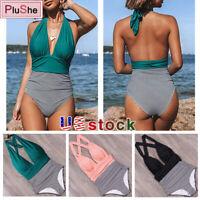 Sexy One Piece Swimsuit Women Stripe Bathing Suit Beachwear Halter top Swimwear