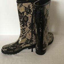 Henry Ferreira New Rain Boots Size 8 Floral  Pattern Ribbon Tie