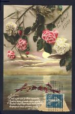 Carte Postale 1er AVRIL 1921 ROSES POISSONS à Mme VIAL 41 rue Cavendish à PARIS