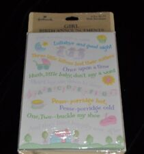 Vtg Birth Announcements Girl Pack of 8 Hallmark NIP! Lullaby Kittens Pat-a-cake