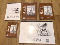 "BAZIC Set of 5 Premium SKETCH BOOK Paper Pad 6"" x 8"",  12""x 18"" 8.5""x10"",9""x12"
