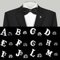 Letter A-Z Unisex Men Fashion Lapel Brooches Collar Pin Silver Wedding Party