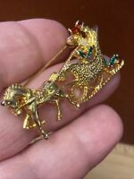 "Vintage GERRY'S 2"" Gold Tone Enamel Sleigh Ride Christmas Brooch Pin Unsigned"