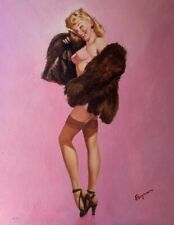 SALE Gil Elvgren IN THE PINK Original Painting Pin-Up Lingerie Stockings PINUP