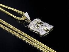 Men's 10k Yellow Gold Jesus Piece Genuine Diamond Charm Pendant Chain Set .40CT