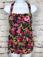 Lands' End Navy and Pink Tropic Floral Halter Modest Tankini Swimsuit Swim Top 4