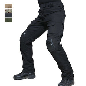Tactical Men's Army Combat Police Pants Outdoor Hiking Trousers with Knee Pads