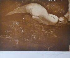 "ERNST FUCHS ""NIXE""MERMAID 1971 HAND SIGNED LIM.ED 34/125 ETCHING/AQUATINTA Nude"