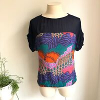 MONSOON Size S Womens Top Colourful Jungle Short Sleeve Semi Sheer Bold Blouse