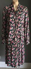 Vintage DUNEDIN Scottish Made Floral Print 2 Piece Set -Blouse & Skirt Size 18