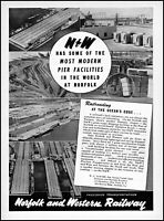 1952 Norfolk & Western Railway at the ocean's edge vintage photo print ad ads10