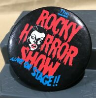 VINTAGE 1970s ROCKY HORROR AUSSIE STAGE SHOW TIN PIN BADGE MADE IN SYDNEY EXC!!!