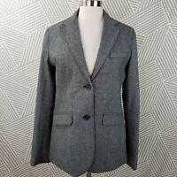 New Eddie Bauer size 10 Tall Blazer Jacket Lined Wool Blend Tweed career gray