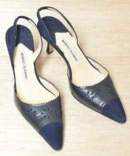Manolo Blahnik Navy Blue Suede Leather Sling Back Strappy Heels Sz 9 Pumps 39