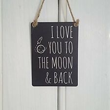 I Love You to the Moon and Back Mini Metal Hanging Sign Plaque 9x6.5cm