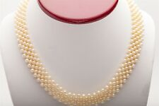 """Estate $3000 Cultured Pearl RIBBON 14k Yellow Gold 16"""" Necklace"""