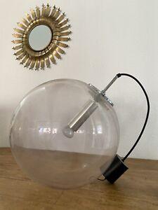 Ancienne Lampe Boule Design RAAK An 50 Old Glass Lamp Suspension XXL Vintage
